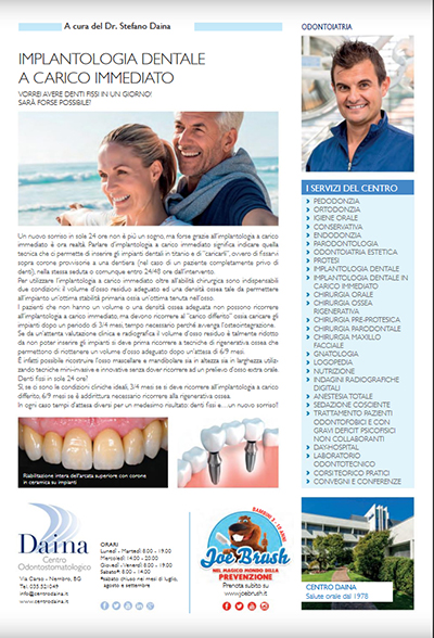 Implantologia dentale a carico immediato _ QuiBg n. 245 Settembre 2017
